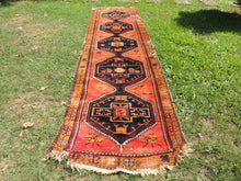 Antique Turkish Malatya Runner Rug with Salmon Pink Color
