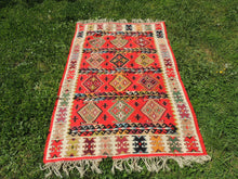 Red Balkan kilim rug - bosphorusrugs  - 2