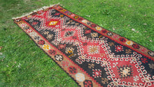 Black and Red Turkish Kilim Rug with Tribal Motifs