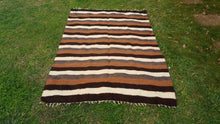 Striped Turkish Kilim Goat Hair Undyed kilim