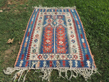 Blue Smyrna Kilim Very Fine Quality Prayer Rug