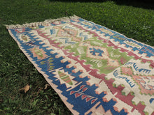 Turkish Kilim Rug with Very Fine Quality Blue Borders