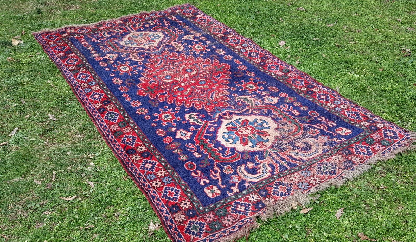 Antique Turkish Rug Navy and Red Kula