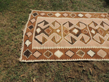 Organic Turkish Kilim Rug with Natural Undyed Wool Colors