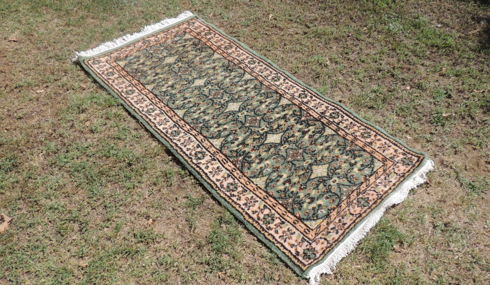 Dark Green Hand Knotted Turkish Carpet with Great Price