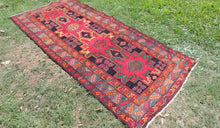 Geometrical Caucasian Runner Rug with Star Patterns