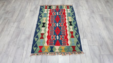 3,1'x4,7' ft. Blue Turkish Kilim Rug