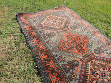 Circa 1950's Turkish Area Rug with Geometric Design and Beautifully Worn Surface