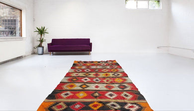 5x11 ft. Orange Red and Black Turkish Kilim