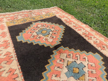 "Light Pink and Black Turkish Carpet ""Clash of Andromeda and Milky way"""