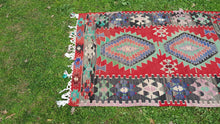 Red and Green Tribal Turkish Kilim $179