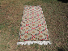 Vintage Area Rug with Red and Pink Flower Patterns