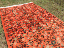 Orange Handcrafted Wool Turkish Area Rug with Great Price