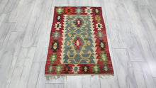Red and Green Kilim 2,4x3,7 ft.