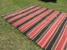 Red and black Striped Nomad kilim - bosphorusrugs  - 3