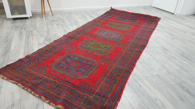 Large Turkish Konya Runner Rug Red Carpet Thick Piles 4,4x11,1