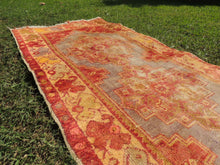 Antique Runner Rug with Decorative Rusty look