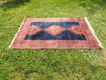Silky navy Turkish area rug - bosphorusrugs  - 4