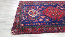 Blue Background Turkish Area Rug with Lovely Patterns