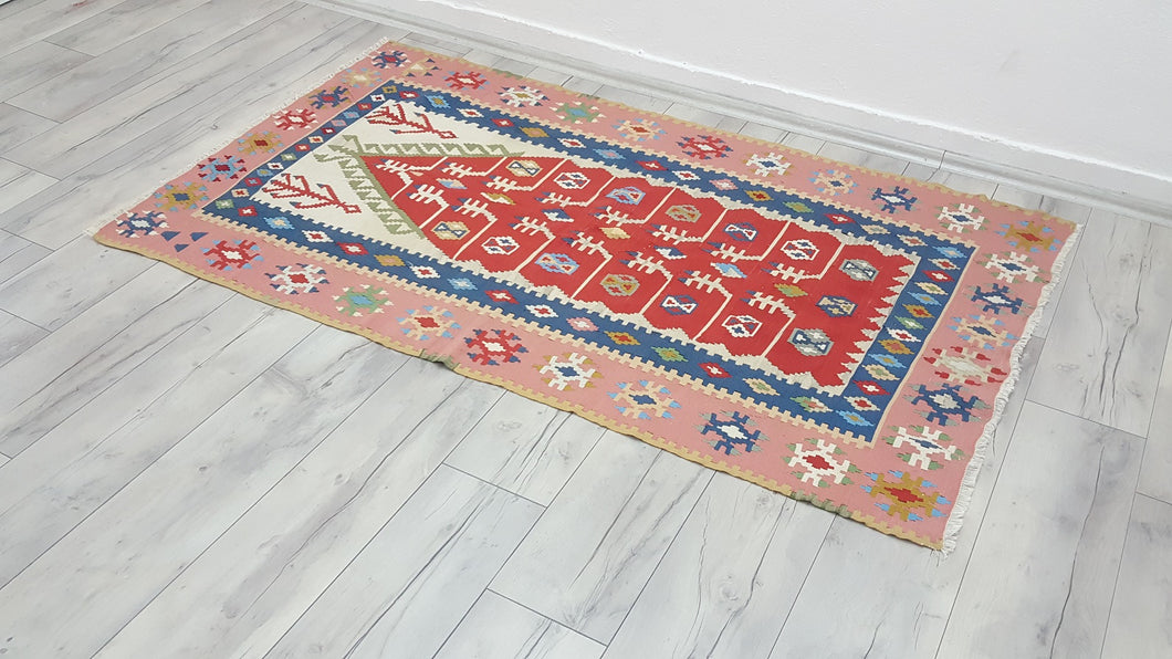 Pink Kayseri Kilim Rug Super Thin Weaving