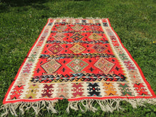 Red Balkan kilim rug - bosphorusrugs  - 6