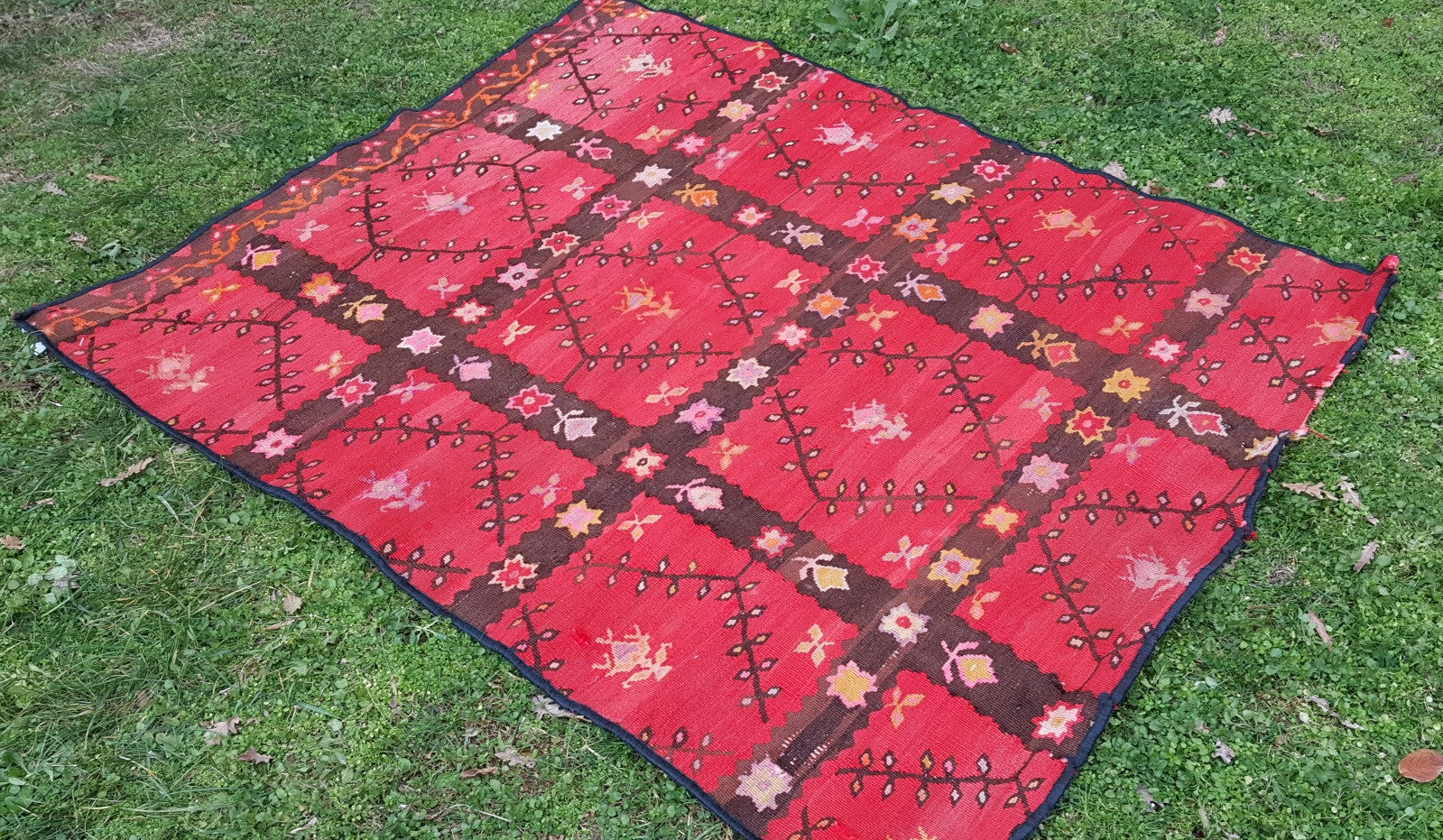 Red Balkan Kilim Rug Square Shaped