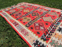 Red Balkan kilim rug - bosphorusrugs  - 8