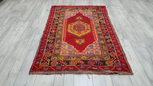 Vintage Turkish Kirsehir Rug Red Colour Anadolu
