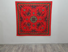 Red Tapestry Square Shape Cotton Woven Design