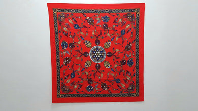 Tapestry Red Color Square Cotton Table Cloth 5x5 ft.