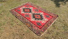 4x6 Red Turkish kilim rug - bosphorusrugs  - 1