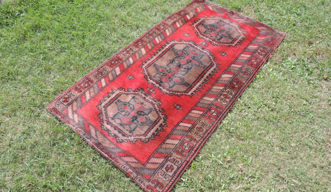 3x6 ft.Wool Turkish Area Rug from Central Anatolia - bosphorusrugs  - 1