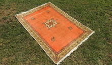 4x6 ft. Salmon Pink Area Rug with Medallion Center