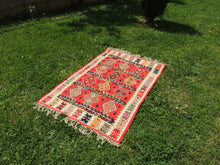 Red Balkan kilim rug - bosphorusrugs  - 5