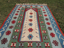 Blue Prayer Kilim Rug with Phoenix Bird Motif