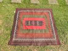 Nomadic Kilim Rug with Unique Square Shape Sofrah