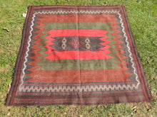 Nomadic Kilim Rug with Unique Square Shape Sofrah $149