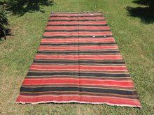 Red and black Striped Nomad kilim - bosphorusrugs  - 2
