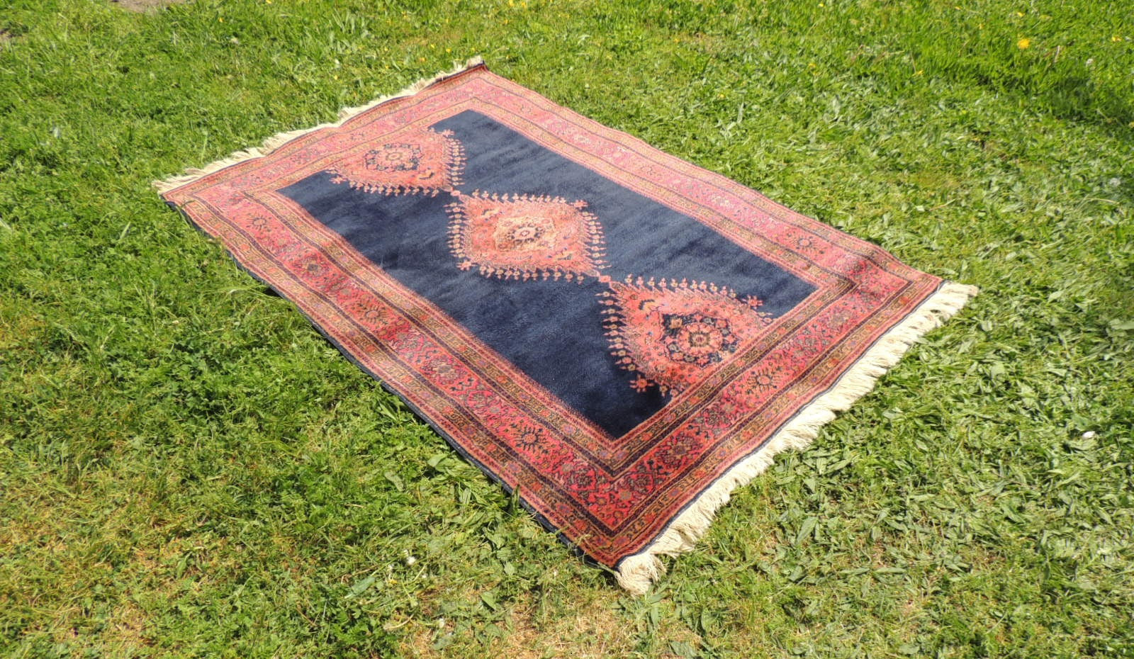 Silky navy Turkish area rug - bosphorusrugs  - 1