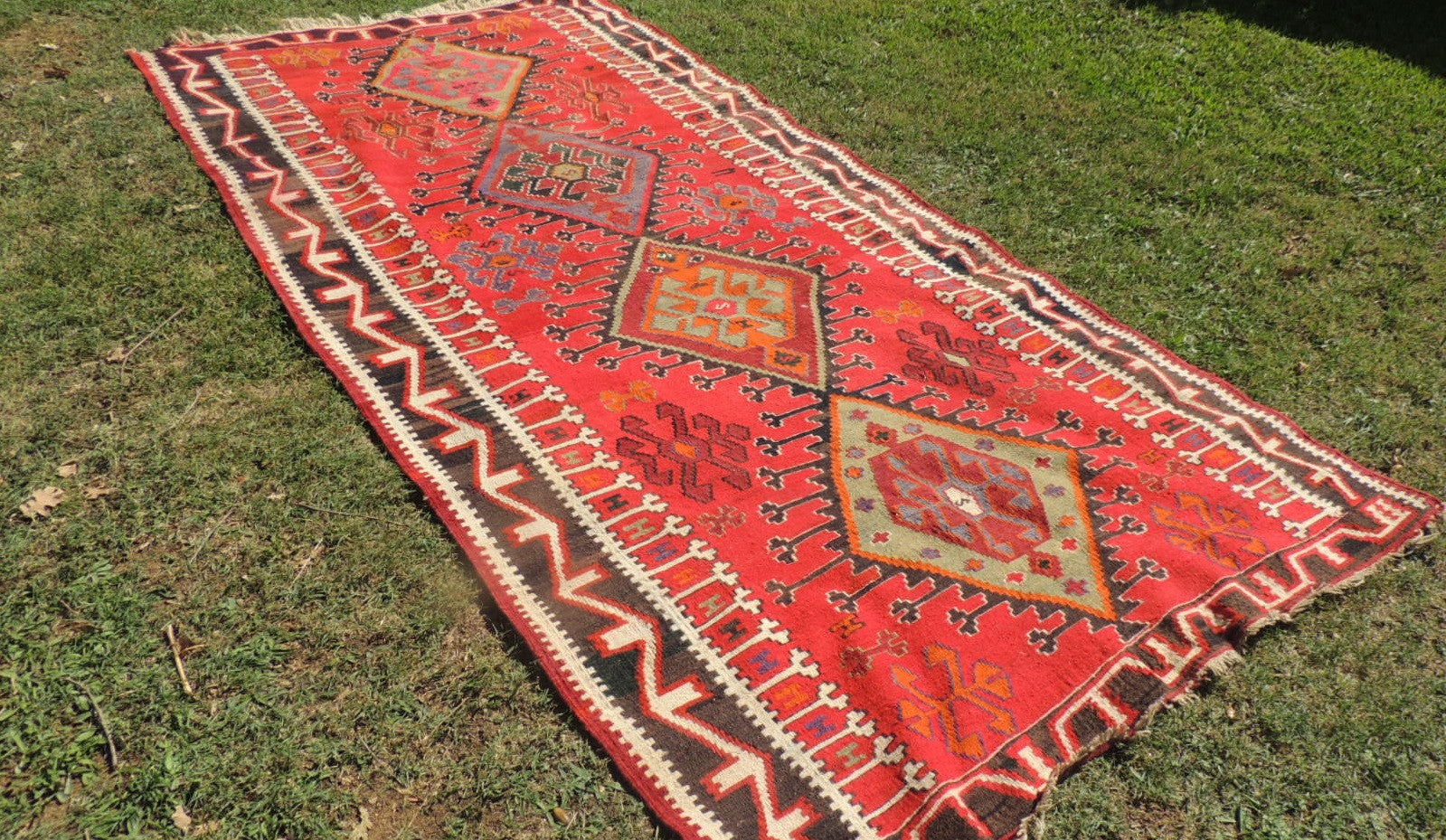 5,4'x11' ft. Red Turkish Runner Kilim 1949 Dated