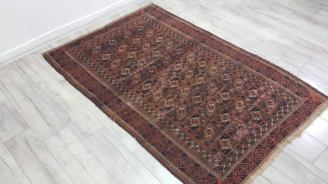 Antique Turkoman Rug with Bokhara Design