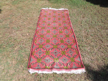 Hand Knotted Turkish Carpet with Faded Dark Pink Color