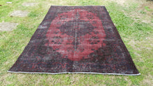 Vintage Overdyed Area Rug Modern Art Burgundy Color Retro Style