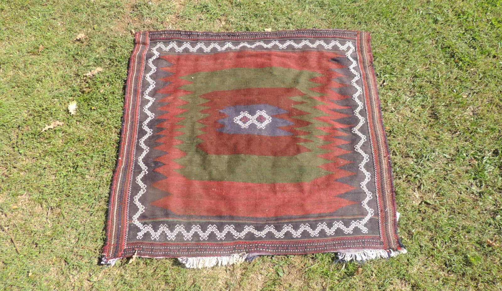 4x4 ft. Square Turkish Kilim Rug Made by Turkish Nomads $139