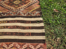 Tribal Turkish Runner Kilim Rug with Lovely Bohemian Decor