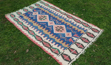 Vintage Blue Turkish Kilim with Wheat Motif