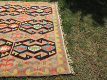 Amazing Turkish Kilim Rug with Lovely Rare Colors and Design