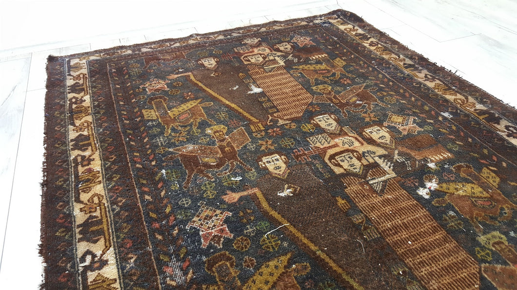 Antique Dark Brown Color Pictorial Persian Area Rug with Men Figures