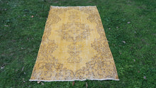 Yellow Overdyed Rug 1970's Modern Carpet