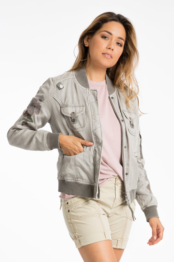 Aria Embroidered Bomber Jacket - Marrakech Clothing